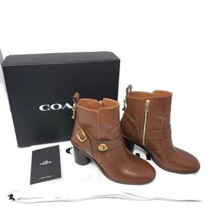 Coach Brown Saddle Moto Boots/Booties